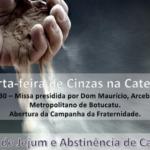 Catedral celebrará Missa das Cinzas às 19h30