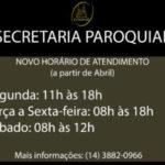 Catedral divulga novo horário de atendimento da Secretaria às segundas-feiras