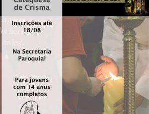 Inscrições para Catequese de Crisma até 18/08
