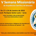 Arquidiocese realizará a V Semana Missionária, em Iaras