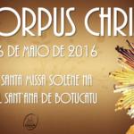 Santa Missa de Corpus Christi será celebrada às 10h