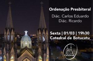 Dom Maurício presidirá Ordenação Presbiteral dos diáconos Carlos e Ricardo na Catedral