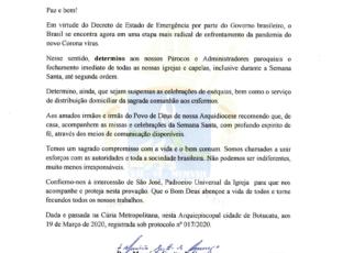 Arcebispo Dom Maurício Grotto de Camargo decreta o cancelamento de todas as missas presenciais no território da Arquidiocese de Sant'Ana Botucatu.
