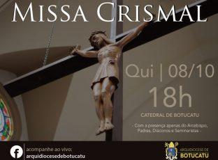 Arquidiocese celebrará Missa Crismal em outubro