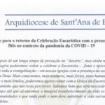 Decreto para o retorno da Celebração Eucaristica com a presença de fiéis no contexto da Pandemia da COVID-19
