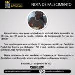 Nota de Falecimento - Ir. Maria Aparecida de Oliveira